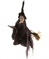 Feest halloween heks hangdecoratie pop zwart 50 cm halloween versiering