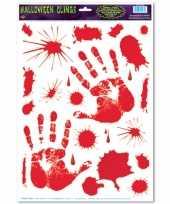 Feest halloween raamsticker met bloed handen