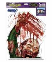 Feest halloween raamsticker zombie met bloed
