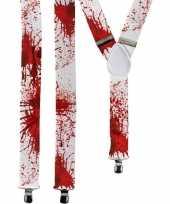 Feest halloween witte bretels met bloedvlekken voor volwassenen