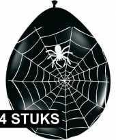 Feest halloween zwarte ballonnen met spinnenweb 24 stuks