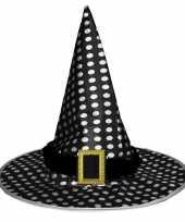 Feest halloween zwarte heksenhoed met stippen voor volwassenen