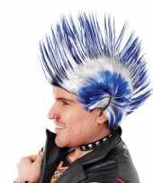Feest hanekam kobalt blauw met wit