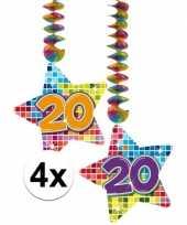 Feest hangversiering 20 jaar 4 stuks
