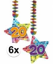 Feest hangversiering 20 jaar 6 stuks