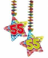 Feest hangversiering 55 jaar 2 stuks