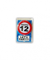 Feest happy birthday leeftijd kaart 12 jaar