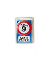 Feest happy birthday leeftijd kaart 9 jaar