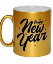 Feest happy new year cadeau gouden mok beker van 330 ml