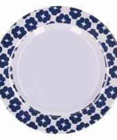 Feest hard kunststof bord 20 cm bloemenprint blauw wit
