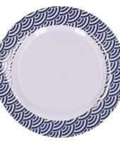 Feest hard kunststof bord 20 cm schubben print blauw wit