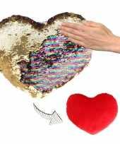 Feest hartjes kussen goud rood metallic met pailletten 50 cm