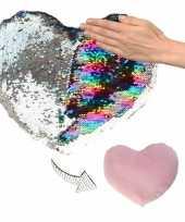 Feest hartjes kussen zilver roze metallic met pailletten 50 cm