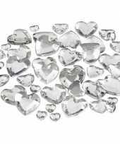 Feest hartjes strasstenen zilver 252 stuks