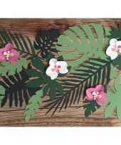 Feest hawaii decoratie orchidee bladeren 6 stuks