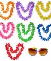 Feest hawaii gekleurde bloemenkransen met bril pakket 7 personen