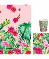 Feest hawaii thema tafeldecoratie set bekers servetten tafelkleed