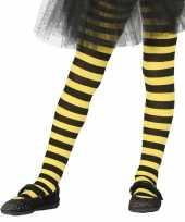 Feest heksen verkleedaccessoires panty maillot zwart geel voor meisjes