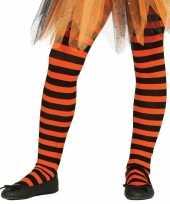 Feest heksen verkleedaccessoires panty maillot zwart oranje voor meisj