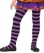 Feest heksen verkleedaccessoires panty maillot zwart paars voor meisje 10134486
