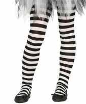 Feest heksen verkleedaccessoires panty maillot zwart wit voor meisjes