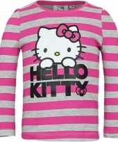 Feest hello kitty t-shirt grijs met roze