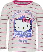 Feest hello kitty t-shirt wit met roze