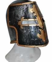 Feest helm middeleeuws zwart en goud