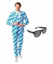 Feest heren kostuum met beierse print maat 52 xl met gratis zonnebr