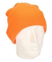 Feest heren winter muts fluorescerent oranje