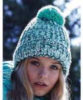 Feest heren winter muts turquoise mix met pompon