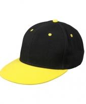 Feest hippe baseball cap in zwart geel