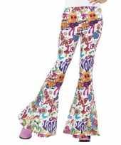 Feest hippie broek wit love voor dames