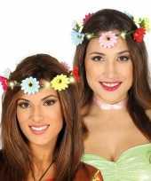 Feest hippie flower power verkleed bloemen hoofd krans voor dames