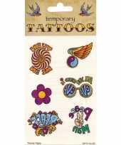 Feest hippie plak tattoo 6 stuks