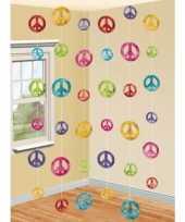 Feest hippie thema peace hangdecoratie 6 stuks