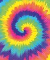 Feest hippie thema tie dye servetten 16 stuks