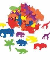 Feest hobby foam 50x foam rubberen dieren gekleurd