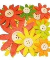 Feest hobby vilt 12 geel oranje groen vilten bloemen met knoop 3 5 7 c