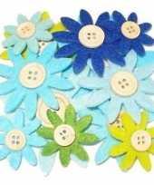 Feest hobby vilt 12 grijs groen blauw vilten bloemen met knoop 3 5 7 c