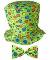 Feest hoge fun hoed groen met strik