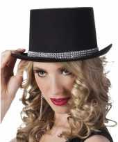 Feest hoge hoed zwart met steentjes voor dames