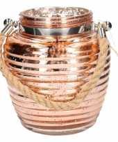 Feest home deco windlicht lantaarn koper 16 cm
