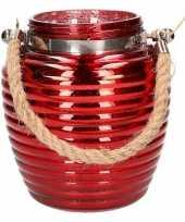 Feest home deco windlicht lantaarn rood 16 cm