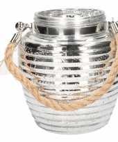 Feest home deco windlicht lantaarn zilver 16 cm