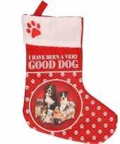 Feest honden kerstsokken i have been a very good dog 37 cm