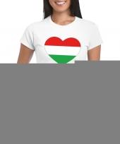 Feest hongarije hart vlag t-shirt wit dames