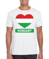 Feest hongarije hart vlag t-shirt wit heren