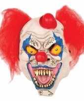 Feest horror clown masker met hoedje