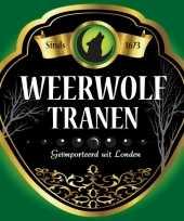 Feest horror thema weerwolf fles etiketten